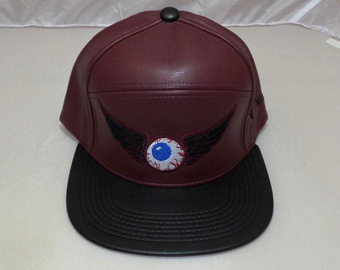 Adjustible-back Flat-Brim Hat - Flying Eyeball (One-of-a-kind)