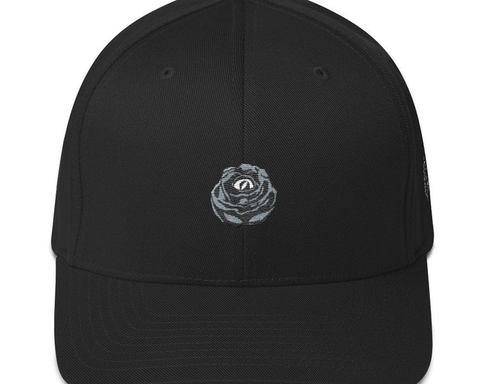 Flex-Fit Bent-Brim Hat - Rose Eye (Gray on Black)