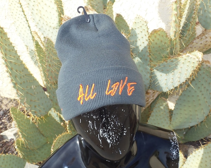 Sock Hat - All Love (Orange on Charcoal)