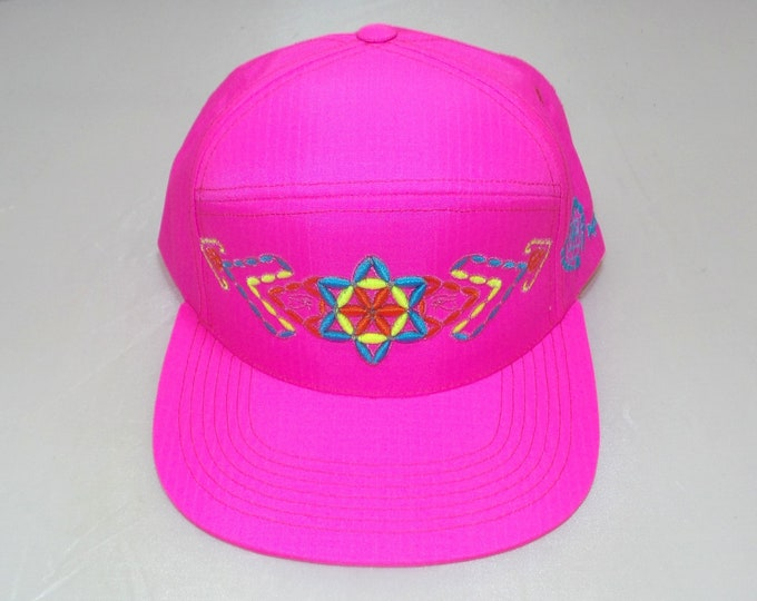 Snapback Flat-Brim Hat - Plant of Life (One-of-a-kind)