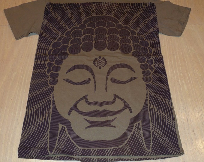 T-Shirt - Optical Buddha (Purple/Maroon on Beige)