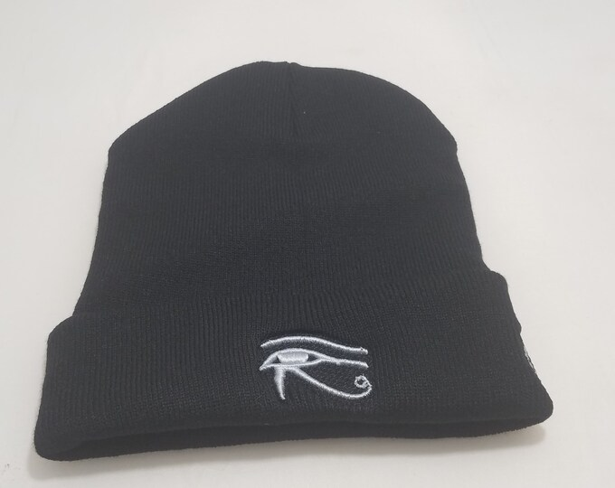 Sock Hat - Eye of Horus (White on Black)