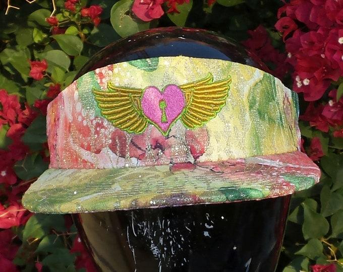 Snapback Flat-Brim Visor - Heart Wings (One-of-a-kind)