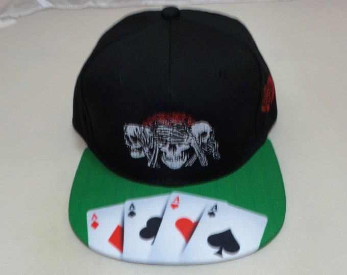 Buckle-back Flat-Brim Hat - No Evil (One of a kind)