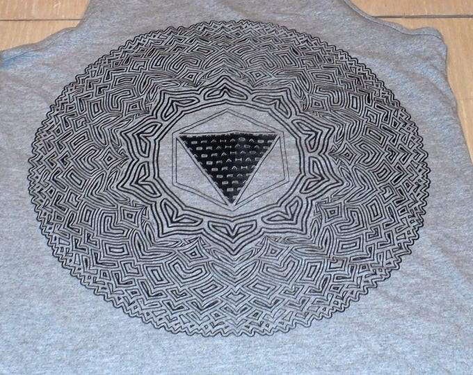 Men's Tank Top - Thousand Petal Lotus (Black on Gray)