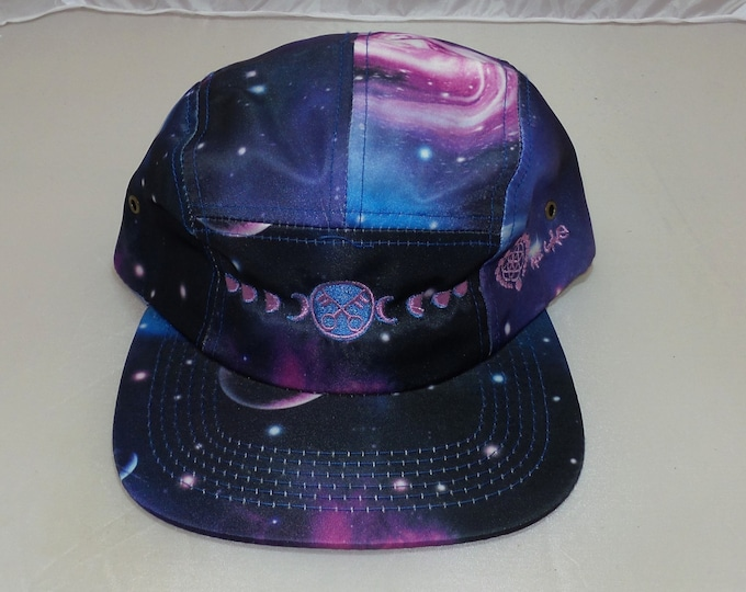 Strapback Flat-Brim Hat - Moon Phases (One-of-a-kind)