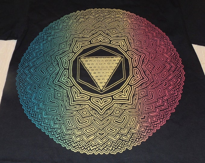 T-Shirt - Thousand-Petal Lotus (Rainbow on Black)
