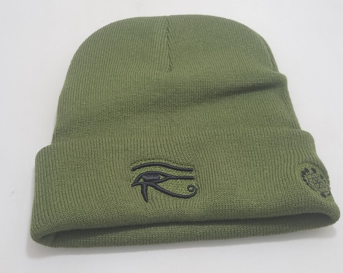 Sock Hat - Eye of Horus (Black on Army Green)