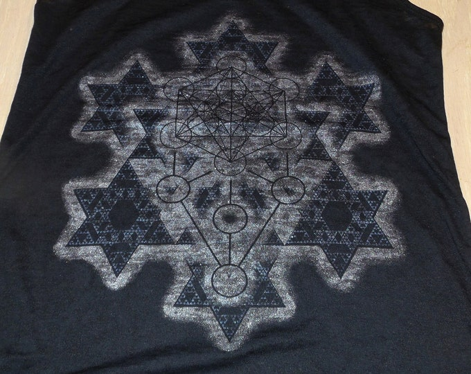 Women's Tank Top - Merkaba Fractal (Blue and Silver on Black Burnout)