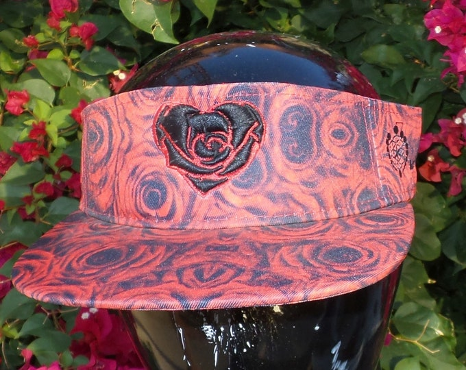 Snapback Flat-Brim Visor - Heart Rose (One-of-a-kind)