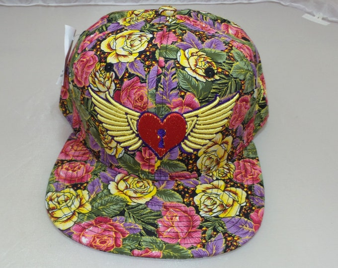 Snapback Flat-Brim Hat - Heart Wings (One-of-a-kind)