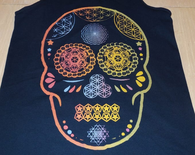 Men's Tank Top - Day Of The Dead Skull (Rainbow on Navy)
