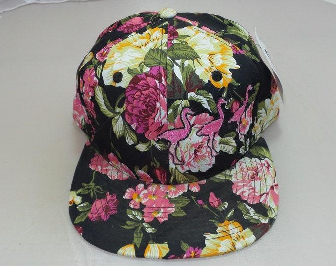 Snapback Flat-Brim Hat - Flamingos (One-of-a-kind)