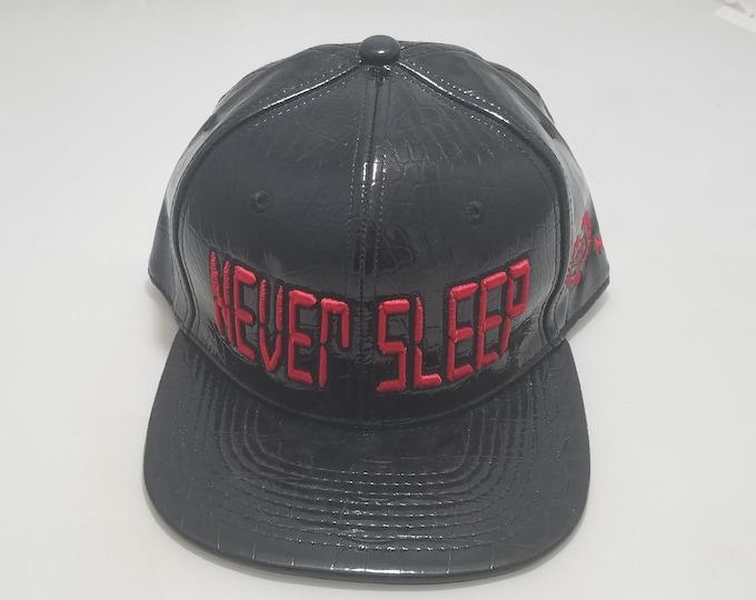 Snapback Flat-Brim Hat - Never Sleep (One of a kind)