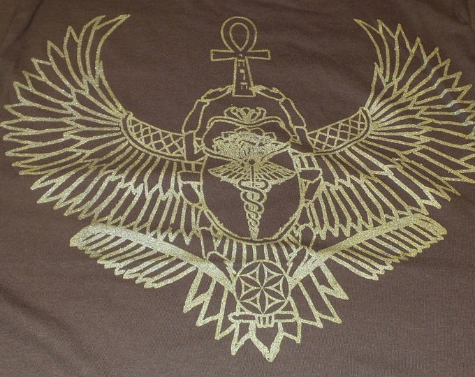 T-Shirt - Winged Scarab (Gold on Brown)