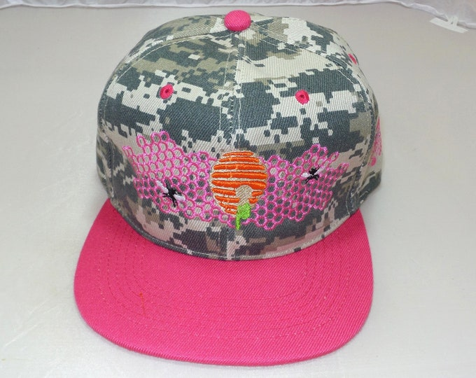 Snapback Flat-Brim Hat - Honeycomb Hideout (One-of-a-kind)