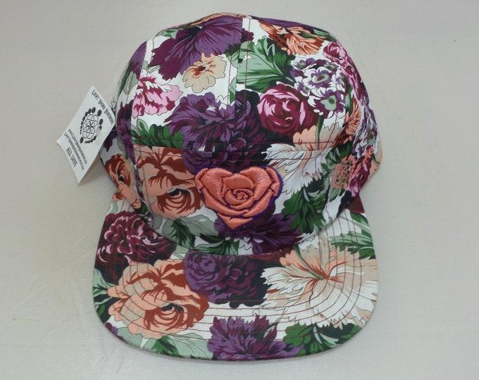 Strap-back Flat-Brim Hat - Heart Rose (One-of-a-kind)