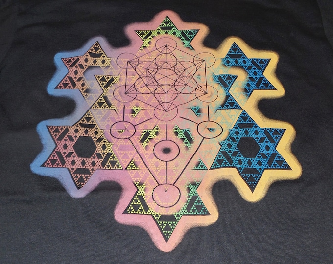 T-Shirt - Merkaba Fractal (Rainbow on Black)