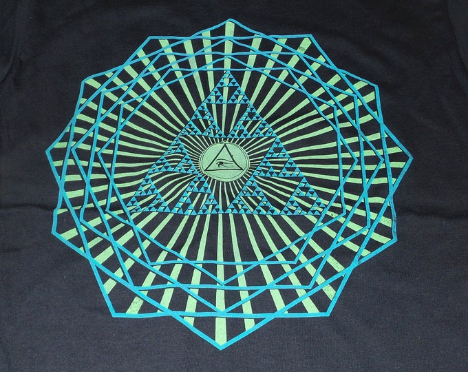 T-Shirt - Third Eye Burst (Blue/Green on Black)