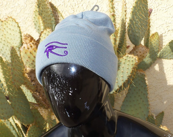 Sock Hat - Eye of Horus (Purple on Gray)