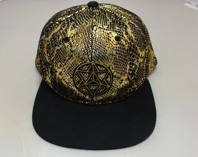 Strap-back Flat-Brim Hat - Star Tetrahedron (One-of-a-kind)