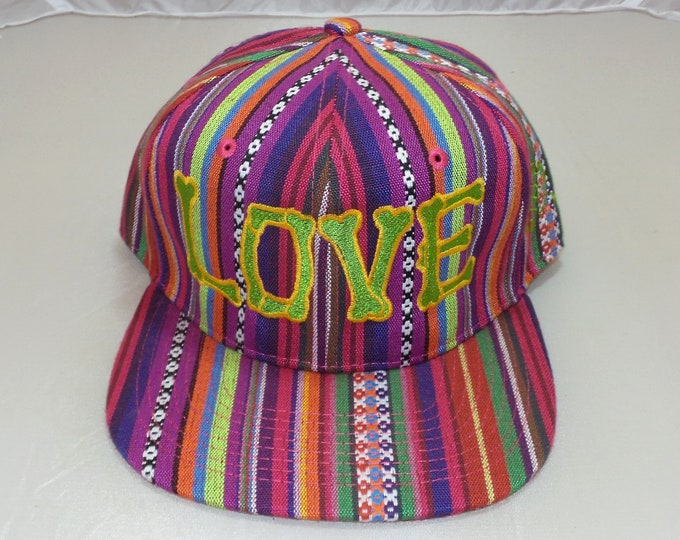 Snapback Flat-Brim Hat - Love (One-of-a-kind)