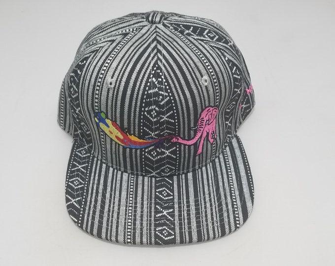 Snapback Flat-Brim Hat - Elephant Rainbows (One-of-a-kind)