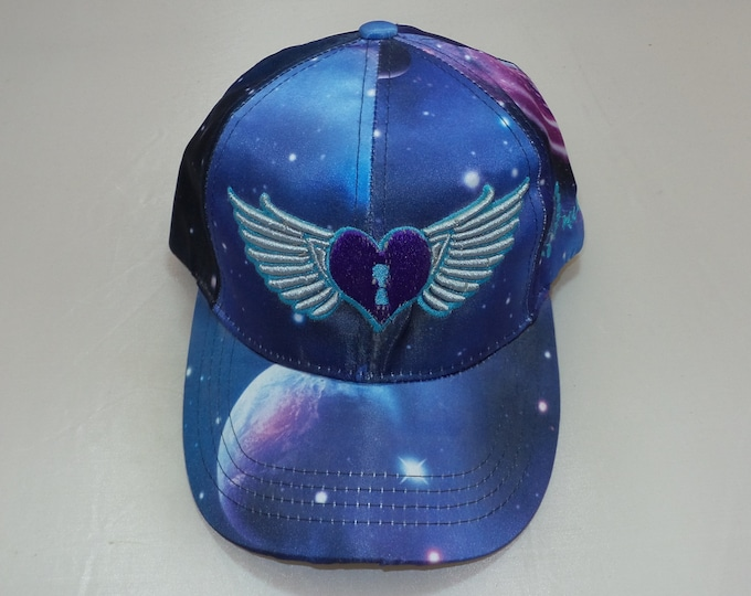 Strap-back Bent-Brim Hat - Heart Wings (One-of-a-kind)