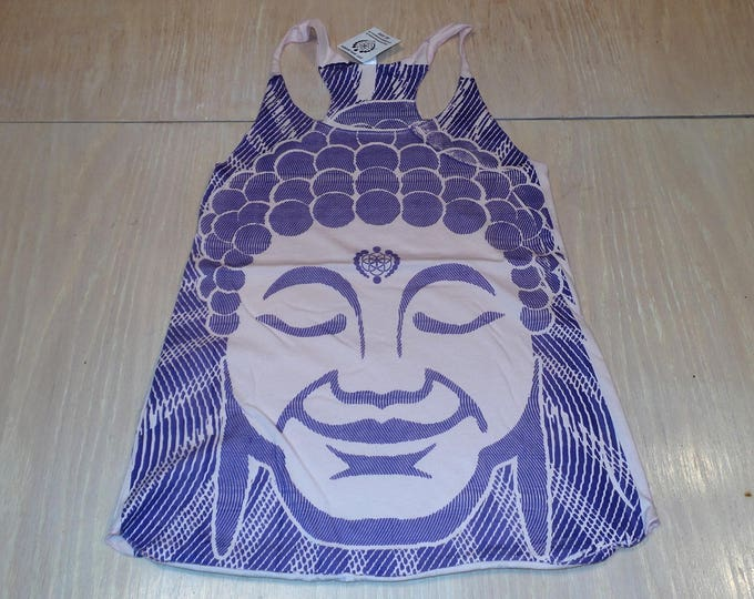 Women's Tank Top - Optical Buddha (Purple on Peach)