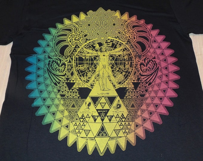 T-Shirt - Fractal of Self (Rainbow on Black)