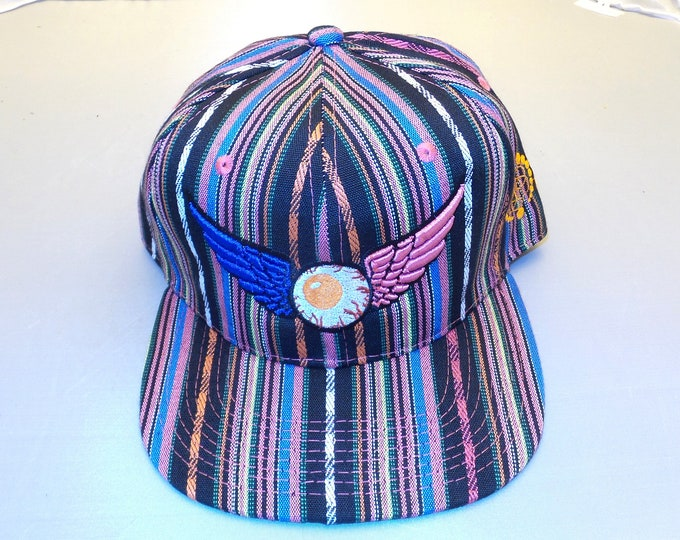 Snapback Flat-Brim Hat - Flying Eyeball (One-of-a-kind)