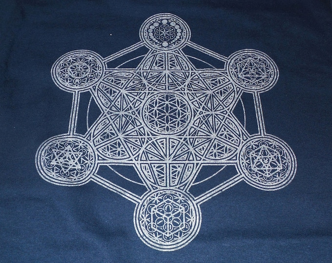 T-Shirt - Metatron's Elements (Silver on Navy)