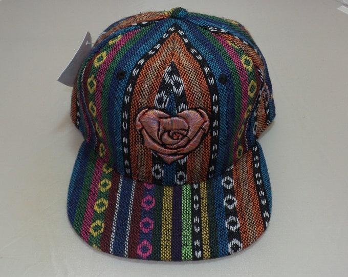 Snapback Flat-Brim Hat - Heart Rose (One-of-a-kind)