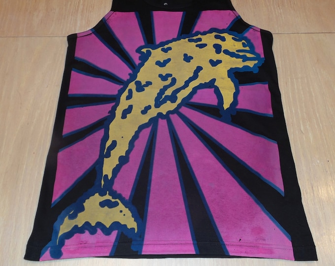 Men's Tank Top - Melty Dolphin (Yellow/Pink on Black)