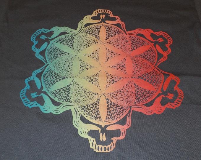 T-Shirt - Stealie of Life (Rainbow on Gray)