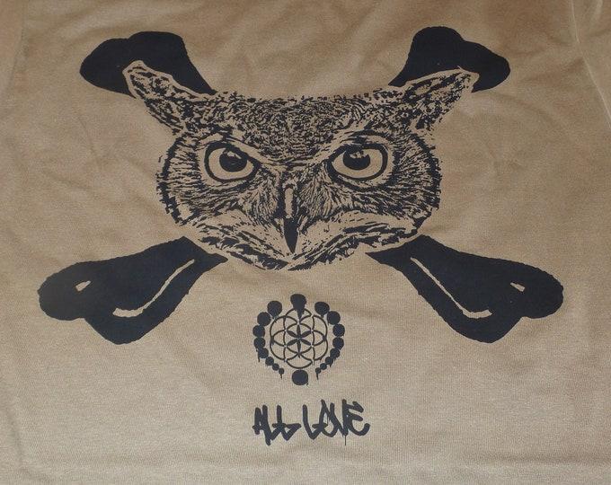 T-Shirt - Owl Crossbones (Black on Tan)