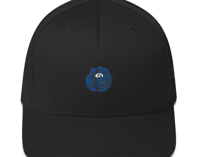Flex-Fit Bent-Brim Hat - Rose Eye (Gray on Black)