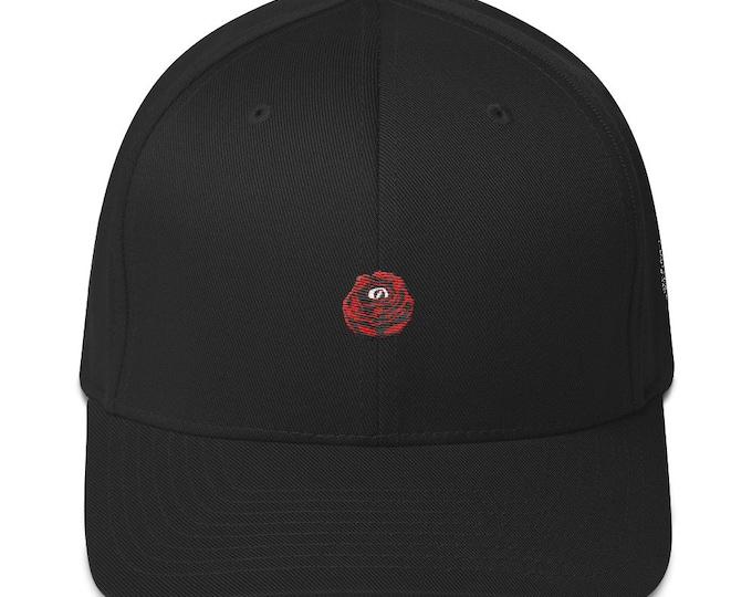 Flex-Fit Bent-Brim Hat - Rose Eye (Red on Black)