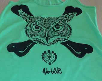 Women's Tank Top - Owl Crossbones (Black on Green)