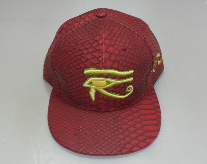 Buckle-back Flat-Brim Hat - 3D Eye of Horus (One-of-a-kind)