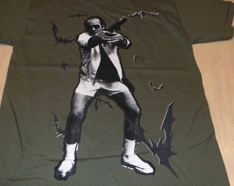 T-Shirt - Bat Country (Black/White on Army)