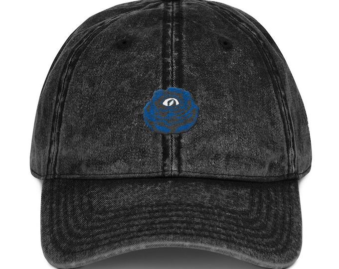 Buckle-Back Bent-Brim Dad Hat - Rose Eye (Gray on Black)