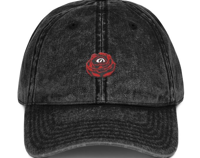Buckle-Back Bent-Brim Dad Hat - Rose Eye (Red)
