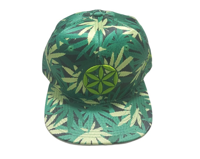 Snapback Flat-Brim Hat - Seed of Life (One-of-a-kind)