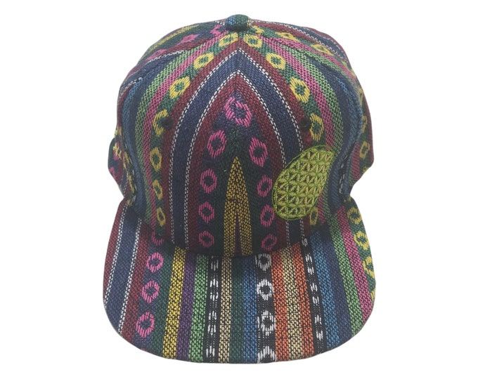 Snapback Flat-Brim Hat - Flower of Life (One-of-a-kind)
