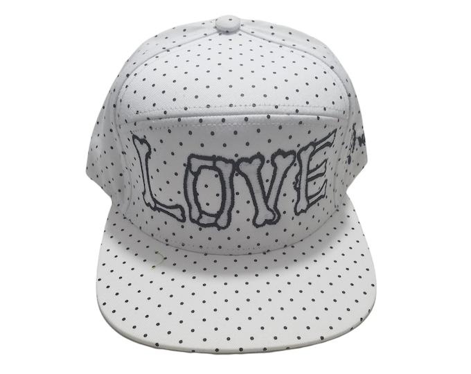 Snapback Flat-Brim Hat - Love (One-of-a-kind)