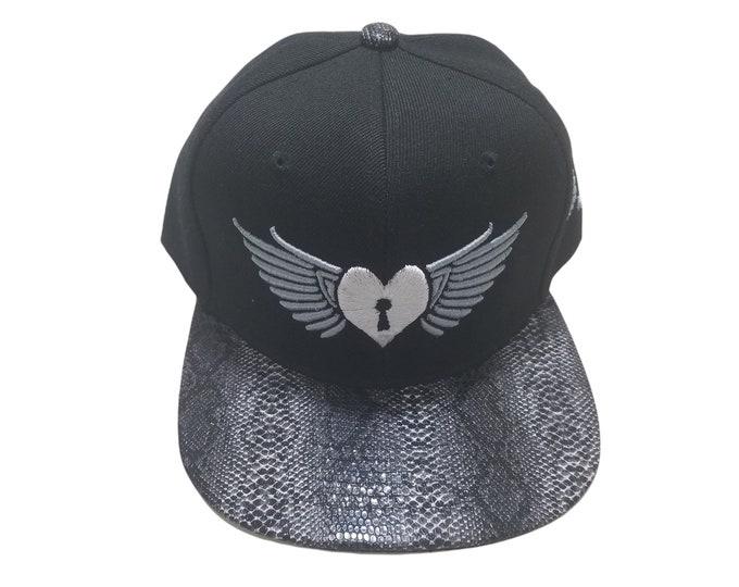 Snapback Flat-Brim Hat - Heart Wings (One-of-a-kind)