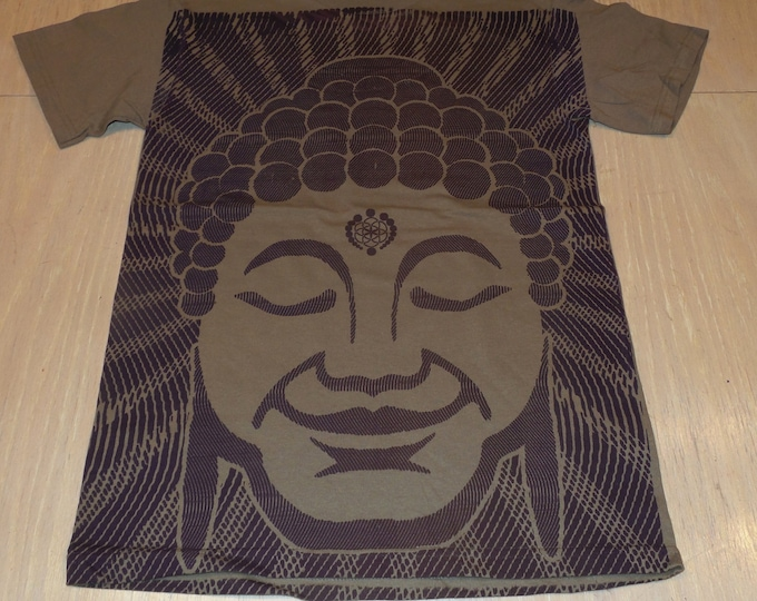 T-Shirt - Optical Buddha (Purple/Maroon on Beige)