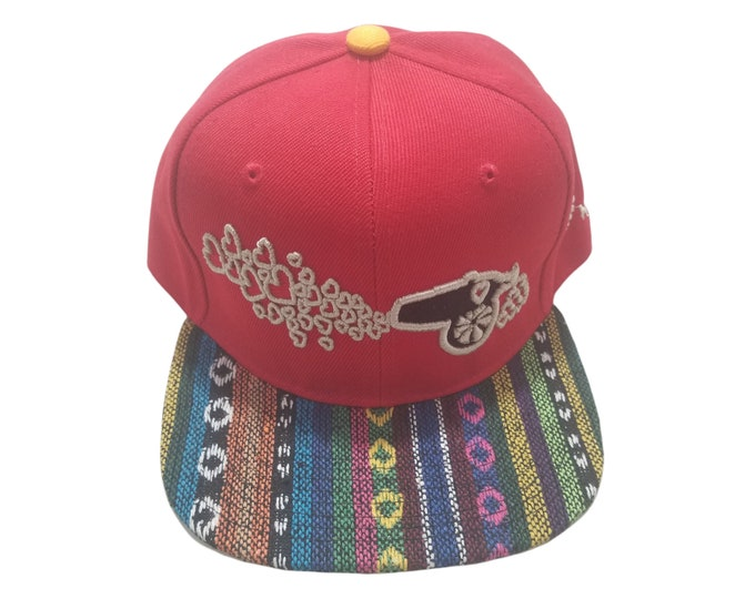 Snapback Flat-Brim Hat - Love Cannon (One-of-a-kind)