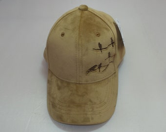 Strap-back Bent-Brim Hat - Birds on Branches (One-of-a-kind)